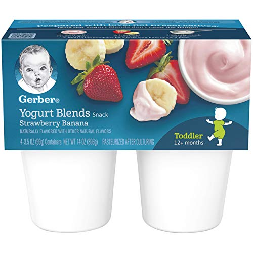 Gerber Yogurt Blends Snack, Strawberry Banana (4 Count of 3.5 Ounce Cups), Pack of 6