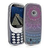 kwmobile Nokia 3310 3G 2017 / 4G 2018 Hülle - Handyhülle für Nokia 3310 3G 2017 / 4G 2018 - Handy Case in Indische Sonne Design Blau Pink Transparent