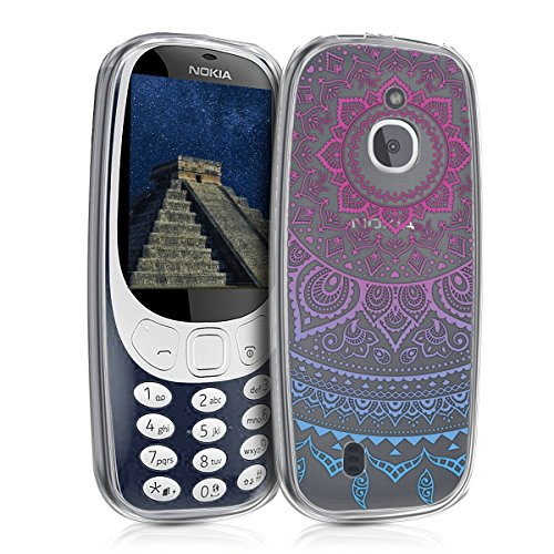 kwmobile Nokia 3310 3G 2017 / 4G 2018 Cover - Custodia in Silicone TPU per Nokia 3310 3G 2017 / 4G 2018 - Backcover Cellulare Blu/Fucsia/Trasparente