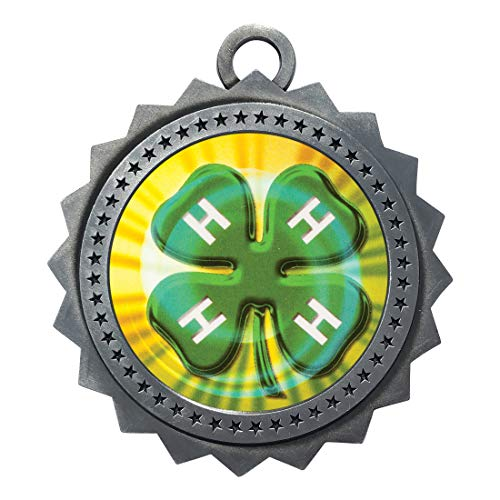 Express Medals 4H Silver Medal Trophy Award with Neck Ribbon D03-MY423 5PK