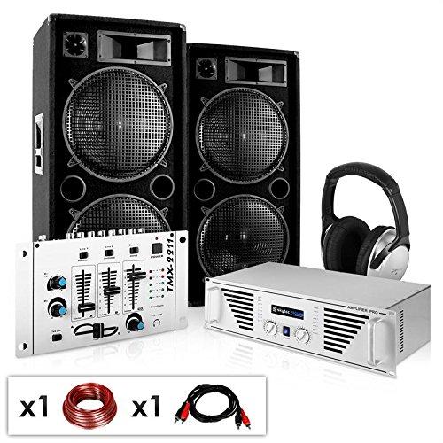PA Komplett-Set N.Y. Fireblade 2000 Watt Party-Musikanlage mit 1600 Watt Verstärker, 3-Kanal-Mixer, DJ-Kopfhörer & inkl. Boxenkabel (für bis zu 400 Personen, 4x 30cm Subwoofer)