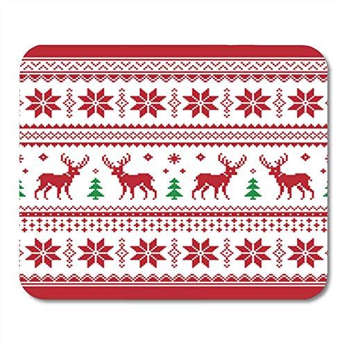 Semtomn Gaming Mouse Pad Grüner Pullover Weihnachten und Winter Gestrickt mit Deer Scandynavian Style Red Nordic Decor Bürocomputer Zubehör Rutschfeste Gummiunterlage Mousepad Mouse Mat