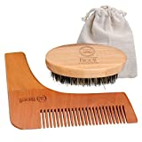 Spazzola barba 2pcs Breett Kit di Pettinatura Barba compreso di Spazzola e Pettine della,Beard Styling e Modellante Modello Pettine Strumento,100% Naturale Legno,regalo ideale per gli uomini