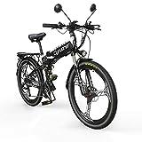 Extrbici Bicicleta Eléctrica Plegable Montaña Hombres Adultos MTB 500 W 48 V 27 velocidades marco de aleación de aluminio suspensión completa frenos de disco hidráulico dual XF770 (Blanco y negro)