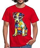Spreadshirt PD Moreno Jack Russel Chiot avec des Lunettes T-Shirt Homme, M, Rouge
