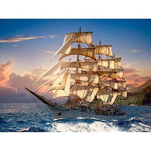 Fai da Te Pittura Diamante 5D Ricamo Punto Croce Strass Adesivi Decorazione della Casa Diamante Rotondo Mosaico Regalo Murale Arte Fatta A Mano Nave A Vela in Mare