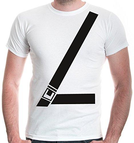 buXsbaum Herren T-Shirt Anschnallgurt | Sicherheitsgurt Seatbelt Gurt Sicherheit Auto | XXL, Weiß