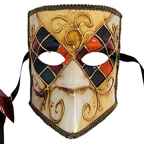 LannaKind Venezianische Maske Casanova Bauta Ballmaske Karneval Fasching Herren (Bauta12)