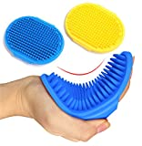 Kwispel 2 Pcs Dog Grooming Brush, Pet Shampoo Brush Dog Bath Grooming Shedding Brush Soothing Massage Rubber Comb with Adjustable Strap for Short Long Haired Dogs and Cats