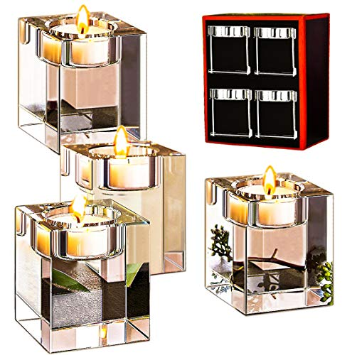 Le Sens Amazing Home Crystal Candle Holders Set of 4,Elegant Heavy Glass Cuboid Tealight Holders,Clear Square Glass Cube Decoration for Ceremony Centerpiece and Home Decor