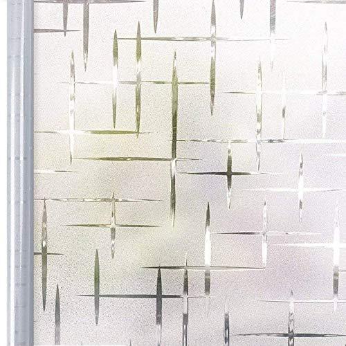 Homein® Fensterfolie Milchglas Fenster Klebefolie Milchglasfolie Sichtschutzfolie Blickdicht Folie Selbstklebend Sichtschutz Statisch Haftend Dekorfolie für Bad Duschkabinen Sterne Kreuz 90 x 200 cm