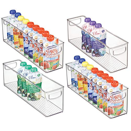 mDesign Kitchen Refrigerator Cabinet or Pantry Baby Food Storage Organizer Bin with Handles for Breast Milk, Pouches, Jars, Bottles, Formula, Juice Boxes - BPA Free, 16' x 4' x 5' - 4 Pack - Clear