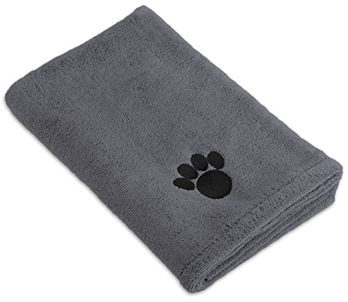 DII Bone Dry Microfiber Dog Bath Towel with Embroidered Paw Print - 44x27.5' - Gray