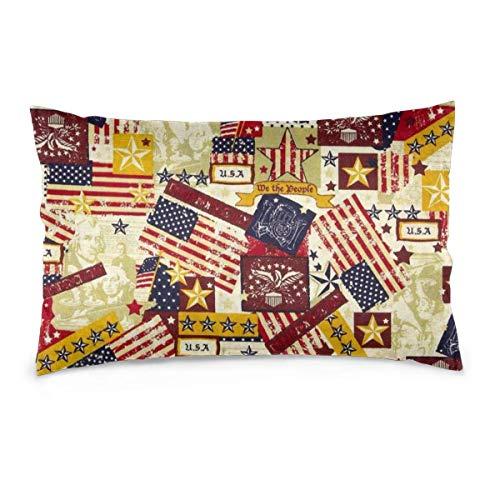 AEMAPE Funda de cojín Rectangular con Banderas de EE. UU. Antiguas Fundas de Almohada Decorativas Vintage Americanas 50X75 Cm