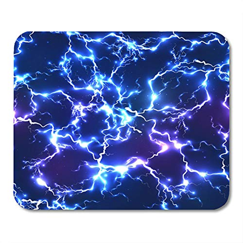 Semtomn Mouse Pad Rubber Mini 9.5' x 7.9' Rectangle Pattern Abstract Blue Electric Lightning Thunder Mousepad Smooth Gaming Notebook Computer Accessories Backing
