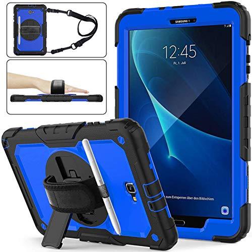 Herize Funda para Samsung Galaxy Tab A 10.1 2016 con Protector de Pantalla SM-T580 / T585 Estuche con portalápices   Funda Protectora de Silicona híbrida con Correa   Azul Oscuro