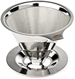 Cafellissimo Paperless Pour Over Coffee Maker, 188 (304) Stainless Steel Reusable Drip Cone Coffee Filter, Single Cup Coffee Brewer