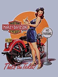 American Collectibles Harley-Davidson Motorcycle Ticket Babe Pin Up Metal Sign