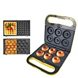 Health and Home 3 Interchangeable Baking Plates for Making Doughnut or Waffle Maker-Eggette and Much More