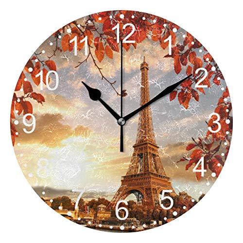 TropicalLife FELIZM - Reloj de pared silencioso con diseño de Torre Eiffel, hojas de otoño, funciona con pilas, para dormitorio, cocina, escuela, oficina, 22,84 cm