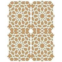 TODO-STENCIL Deco Fondo 029 Celosía Árabe. Medidas aproximadas: Medida Exterior 20 x 30 cm Medida del diseño:18,1 x 23,4 cm