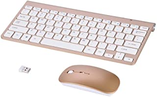 Eboxer Wireless Keyboard Mouse Combo, 2.4GHz Slim Waterproof Keyboard and Mouse Kit for Desktop, Computer, PC(Gold)