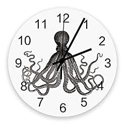 LUSWEET Wall Clock Silent 12 Inch Round Battery Operated Wood Clocks, Vintage Kraken Octopus Black White Non-Ticking Kitchen Wall Clock for Home/Office/Classroom/School Clock Wall Decor