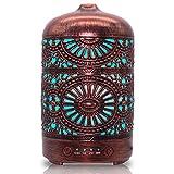 MAINELUX Humidificador de Aceites Esenciales, Humidicador ultrasonico, Difusores Humidificadores de aromas bebes, con LED Nocturna de 7 Colores, Apagado automatico,Aromaterapia, Rojo, 100ml