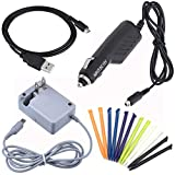 Awaqi 4 in 1 Accessory Kit! Travel AC Power Adapter Wall Charger+ Car Charger for New Nintendo 3DS XL + 12 Packs Stylus Pen for New 3DS XL+ USB Charging Cord for New 3DS XL
