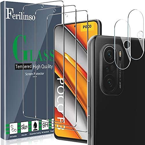 Ferilinso [5 Stück] 3 Stück Panzerglas Schutzfolie + 2 Stück Kamera Panzerglas Bildschirmschutzfolie für Xiaomi Poco F3 [Kompatibel mit Handy Hülle][9H Festigkeit] [2.8D Rand] [Anti-Kratzen]