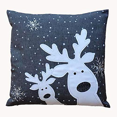 Kamaca Serie LUSTIGE Elche mit neugierigen Elchen und Schneeflocken Filigrane Stickerei Eyecatcher Winter Weihnachten (dunkelgrau, Kissenbezug 40x40 cm)