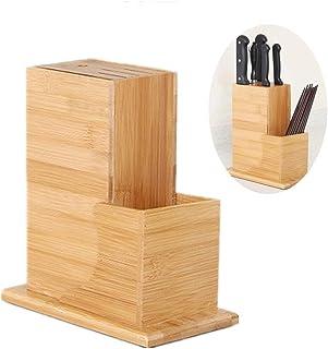 Fablcrew Bloc à Couteaux Universels en Bambou Porte-Couteaux de Cuisine Support Couteaux pour 6 Couteaux Organisation de C...