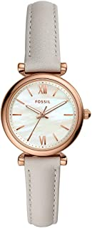Fossil Carlie Mini Women's Mother Of Pearl Dial Leather Analog Watch - ES4529