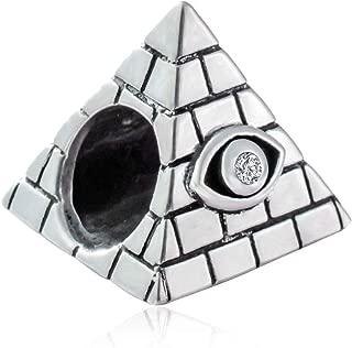 Egyptian Pyramids Eye of Horus Evil Eye Charm Beads 925 Sterling Silver World Travel Tourist Bead for European Charm Bracelet