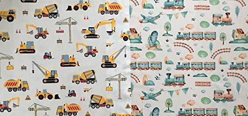 Tom: Baumwollstoff Stoffpaket mit Baustellenfahrzeuge, Züge, Flugzeuge, usw. | 2x50x160cm | Keine Meterware | Jungen Kinderstoff