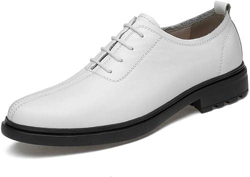 2018 Chaussures Oxford d'affaires pour hommes, chaussures de sport rondes à talon haut rondes et légères pour hommes légers (Atyle) (Couleur  Noir, Taille  39 EU) ( Couleuré   Blanc , Taille   45 EU )
