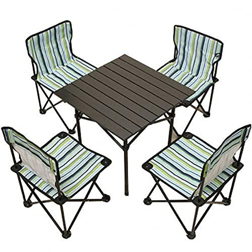 BIANGEY Mesa de Camping de 5 Piezas y sillas, con Bolsa de Transporte portátil Plegable, para Barbacoa al Aire Libre, Cena de Camping, Fiesta de Piscina
