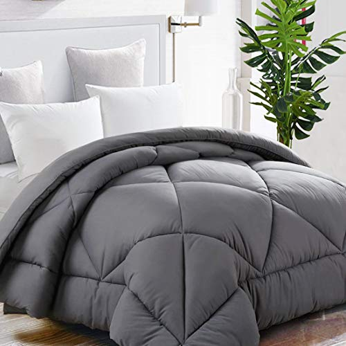 TEKAMON All Season Queen Comforter Summer Cool Soft Quilted Down Alternative Duvet Insert with Corner Tabs,Luxury Fluffy Reversible Collection for Hotel, Charcoal Grey,88 x 88 inches