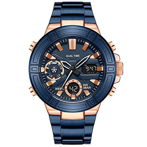 WNGJ Mire el Reloj de Cuarzo, el Reloj de Negocios de la Banda de Acero Inoxidable a Prueba de Agua Simple, Reloj de Negocios de Moda Multifuncional, Reloj de Gama Alta p Blue