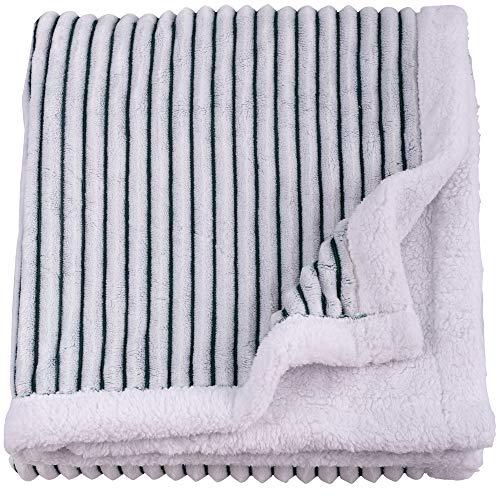 SOCHOW Sherpa Fleece Wohndecken Kuscheldecken, superweiche, Flauschige, warme Streifenplüschdecke für Schlafcouch, 150 x 200 cm, Grün/Weiß