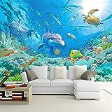 Papel Pintado Pared Delfines banco de peces acuario Fotomural Tejido no Tejido 3D Murales Moderna de Diseno Fotográfico Decoración Salón Dormitorio Habitaciones Comedores 200x140cm