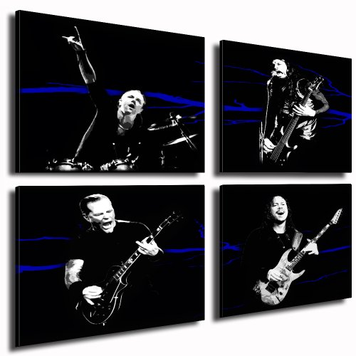 fotoleinwand24 Metallica Kunstdruck - 4 Bilder je 50x50cm k. Poster ! Bild fertig auf Keilrahmen ! Pop Art Gemälde Kunstdrucke, Wandbilder, Bilder zur Dekoration - Deko. Musik Stars Kunstdrucke