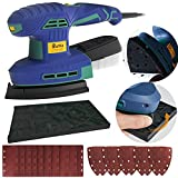 Rumia 2 in 1 Electric Sander, 3.2A (350W) Detail Sander with 20Pcs Sandpapers 6 Variable Speeds 12000RPM, Powerful Dust Collection System Detail Sander Machine DIY for Woodworking-MS02A
