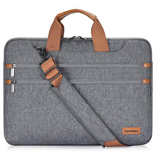 LONMEN 17.3 Zoll Laptop Hülle Tasche mit Handgriff Schulterriemen, Wasserdicht Schultertasche Notebook Tasche Kompatibel mit 17.3