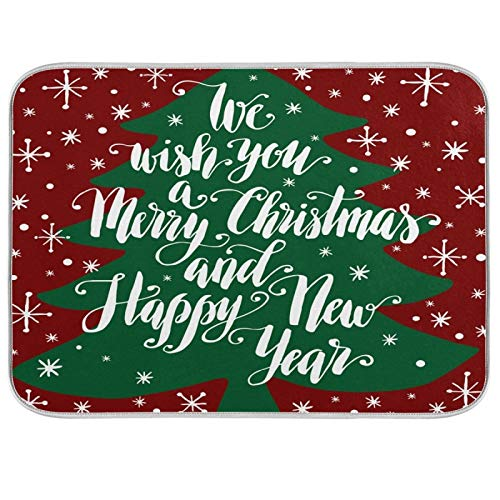 Oarenol Christmas Tree We Wish You Merry Christmas and Happy New Year - Alfombrilla absorbente para secar platos (40,6 x 45,7 cm)