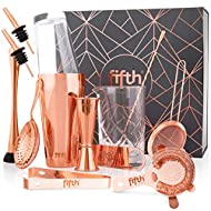 Fifth Label 13-Piece Cocktail Shaker Set - Weighted Boston Shakers, Liquor Pourers, Japanese Double Jigger, Strainer, Mixing Glass, Spoon - Copper-Plated Bartending Kit - Mixology Equipment & Gifts