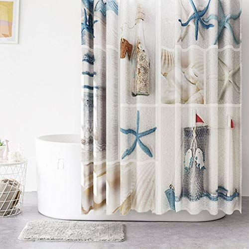 Shower Curtain Nautical Beach Seashell Starfish Decorative Bathroom Bath Durable Waterproof Curtains Set 72 x 72 Inches with 12 Pcs Hooks
