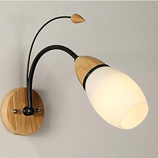 MX Light Fixture Nordic Modern Minimalist Solid Wood Bedroom Bedside LED Single Headlight (Color : 5W)