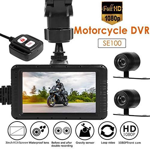 """WXJHA Moto DVR Dashcam, Full HD 1080P De La Motocicleta De La Cámara DVR 3.0\""""Frontal Vista Posterior De La Lente Dual del Video De La Motocicleta De La Noche Visión Nocturna Dashcam"""