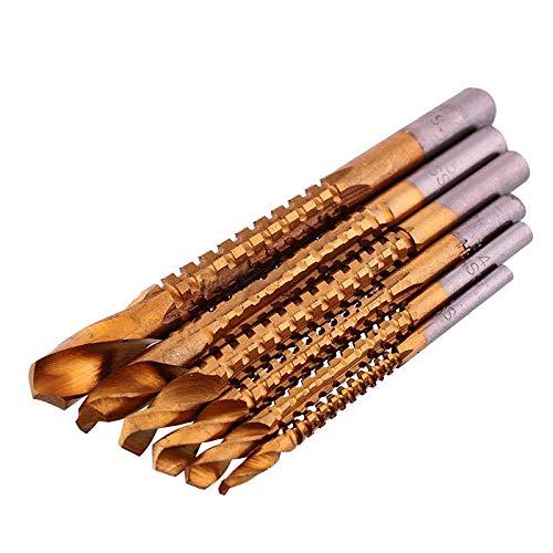 Drill Bit 6pcs x 3-8mm Titanium Coated HSS Drill Bit Set Hole Cutter Woodworking Tool